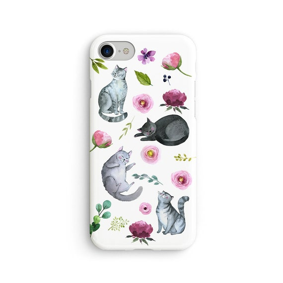 Cat amongst flowers iPhone X case - iPhone 8 case - Samsung Galaxy S8 case - iPhone 7 case - Tough case 1P096