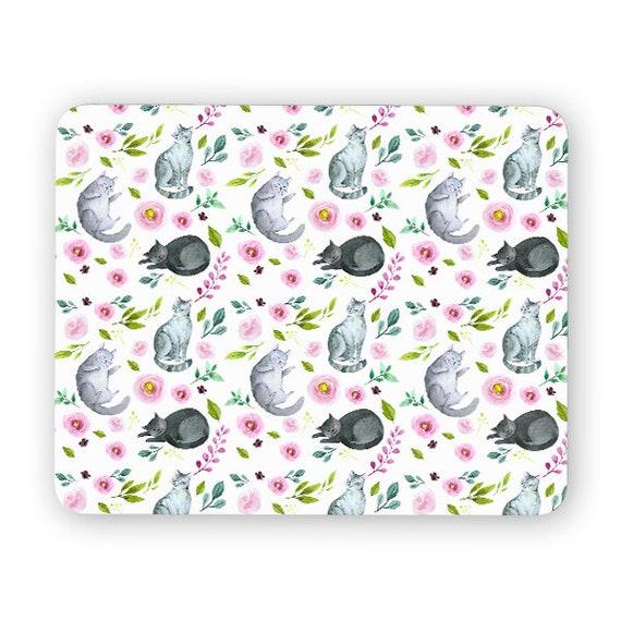 Cat amongst flowers mouse pad - mouse mat - desktop mouse mat - funny mouse mat - computer pad 3P015