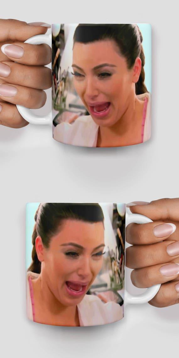 Kim Kardashian crying face mug- Christmas mug - Funny mug - Rude mug - Mug cup 4P019