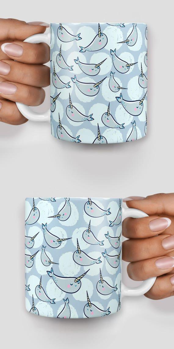 Kawaii manatee narwhal mug - Christmas mug - Funny mug - Rude mug - Mug cup 4P055