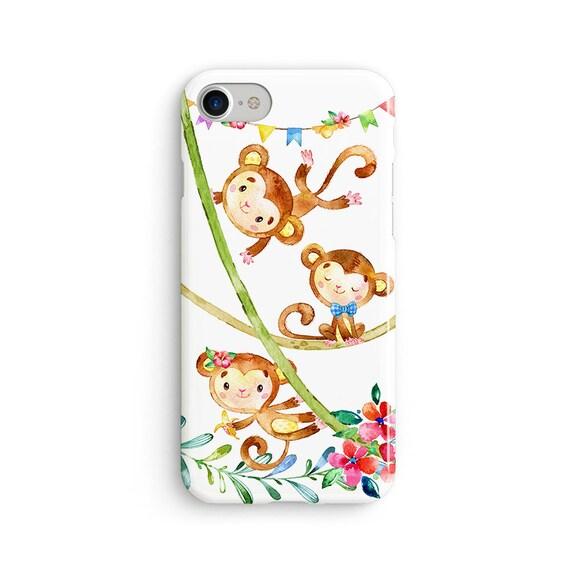 Cute monkey party iPhone X case - iPhone 8 case - Samsung Galaxy S8 case - iPhone 7 case - Tough case 1P093