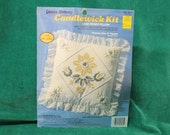 NIP Candlewicking Kit Lace Edged Pillow quot Yellow Daisy quot no. 8265 by Creative Moments 1988 craft kit sewing embroidery crafting