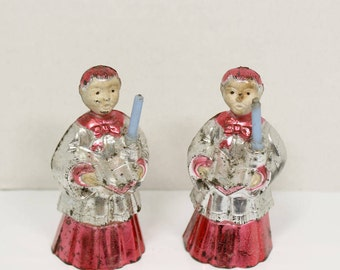 Two 2 Vintage Metallic Foil Plastic Christmas Ornaments Red & Silver Choir Boys w/ Blue Candles Blowmold Style 1960s-70s choirboy silvered