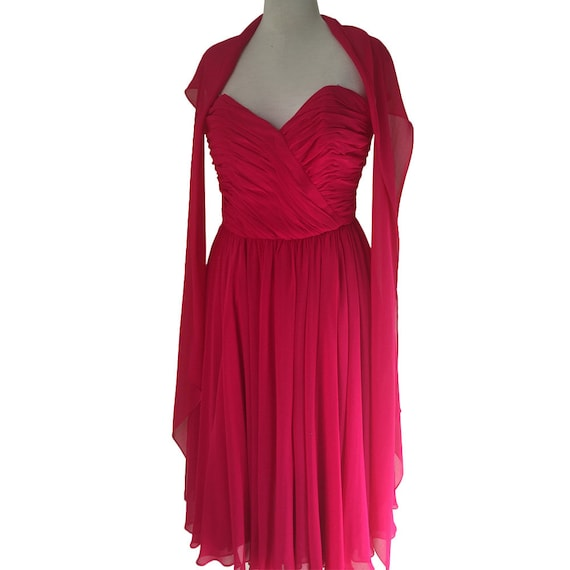 1950's Hot Pink Chiffon Strapless Formal Dress Coc