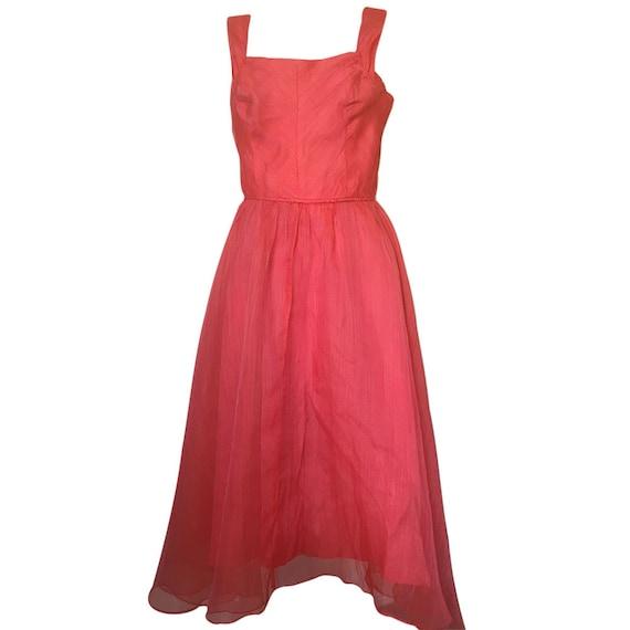Vintage 1950's Red Chiffon Summer Dress