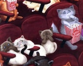 Timeless Treasures - Pawsitively Purrfect - Scaredy Cats In Movies - Wine - Cotton Fabric by the Yard or Select Length C8141-WINE photo