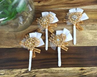 Gold Buttonhole, Wedding Buttonhole, Boutonniere, Mens Wedding Boutonniere, Lapel Pin, Mens Lapel Pin, Gold Lapel Pin, Lapel Flower, DEPOSIT