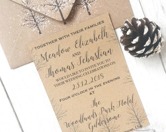 Rustic Winter Wedding Invitations, Christmas Wedding Invitation, Winter Wedding Invitation, Winter Wedding Rustic Invitation, Wedding