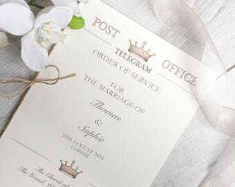 Vintage Telegram Order of Service, Rustic Order of Service, Vintage Telegram Wedding Stationery Theme, Telegram Order of Service, Service