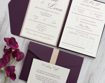 SAMPLE Burgundy Pocket Fold Style Wedding Invitation Suite with Ivory Card and Glitter Detailing.