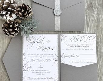 Grey and Silver Rustic Winter Wedding Invitation Pocket Fold, Rustic Wedding, Winter Wedding, Christmas Wedding Invitation,