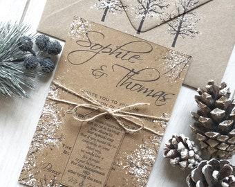 Winter Wedding Invitations, Handmade Winter Wedding Invitations, Kraft Rustic Wedding Invitation, Christmas Winter Wedding Rustic Invitation