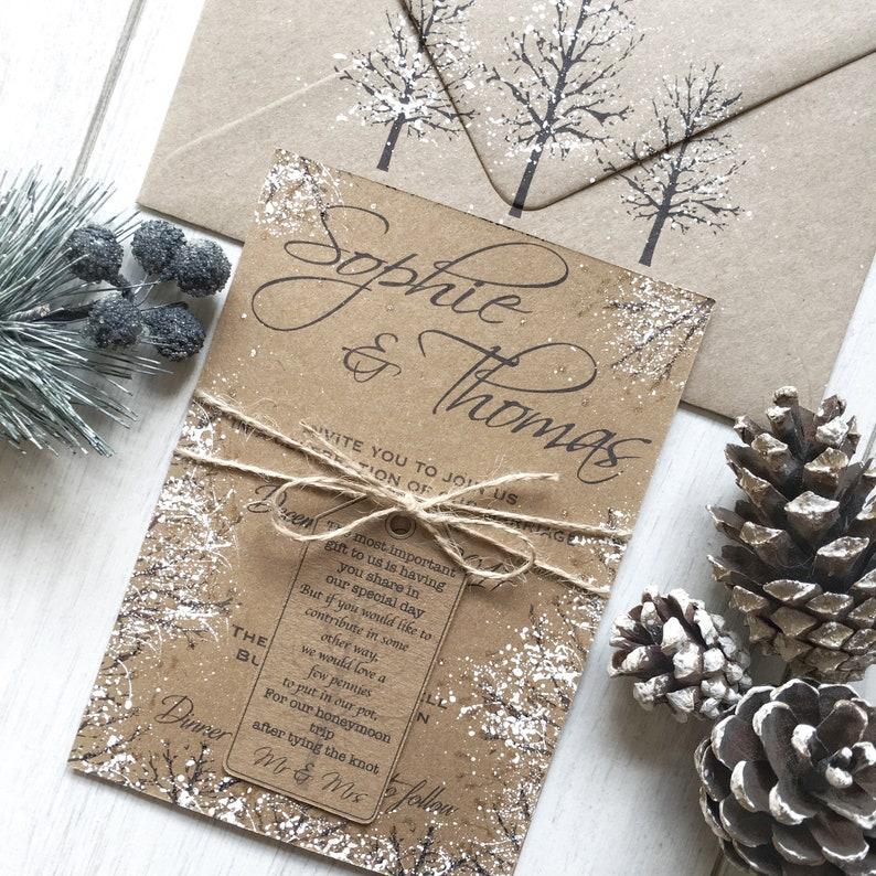 0e6872ea Winter Wedding Invitations Handmade Winter Wedding | Etsy
