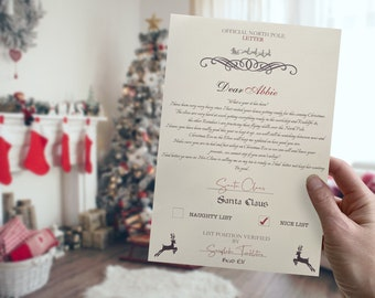 Personalised Santa Letter, Christmas Eve Box Gift, Letter from Santa, Children's Letter from Father Christmas, Santa Letter from North Pole