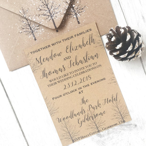 Christmas Wedding Invitations.Rustic Winter Wedding Invitations Christmas Wedding Invitation Winter Wedding Invitation Winter Wedding Rustic Invitation Wedding