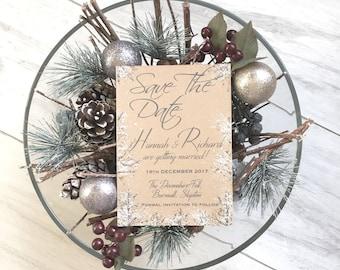 SAMPLE Winter Wedding, Winter Save The Date, Christmas Wedding Save the Date Card, Save the date Invitations, Save the Date Card, Wedding,