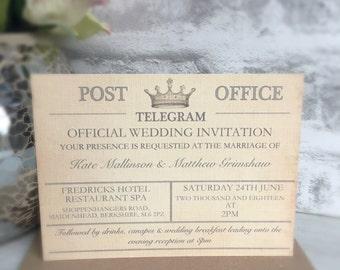 Personalised Destination Wedding Invitation, Vintage Telegram Style Wedding Invitation, Wedding Invitation, Telegram Wedding Invitation