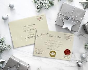 Personalised Santa Naughty or Nice List Scratch Cards, Christmas Eve Box Gift, Santa Card, Naughty or Nice List, Card from Santa