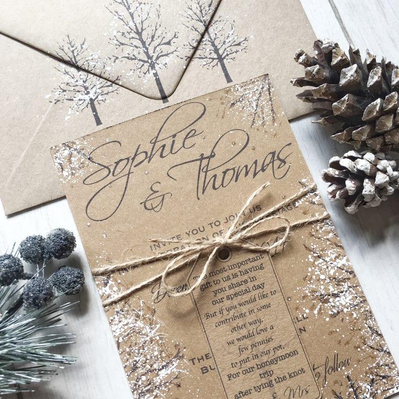 Winter Wedding Invitations Handmade Winter Wedding image 2