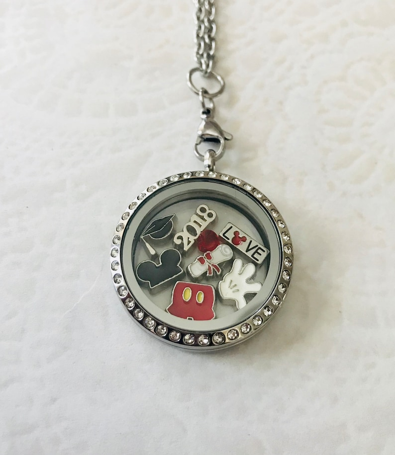 Disney inspired Graduation 2018 stainless steel memory locket with choice of stainless steel chain