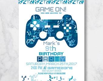 Video Game Invitation. Gaming Invitation. Video Game Console Invite. Gaming Invitation. Video Game Party Invite. Video Game Birthday Invite