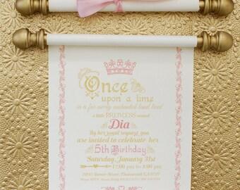 Elegant Princess Scroll Birthday Invitation in Gold and Pink, Princess Scroll Invitation, Luxury Scroll Invite, Princess Party, Min set of 2