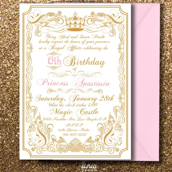 Royal Princess Birthday Invitation Royal Prince Birthday Etsy