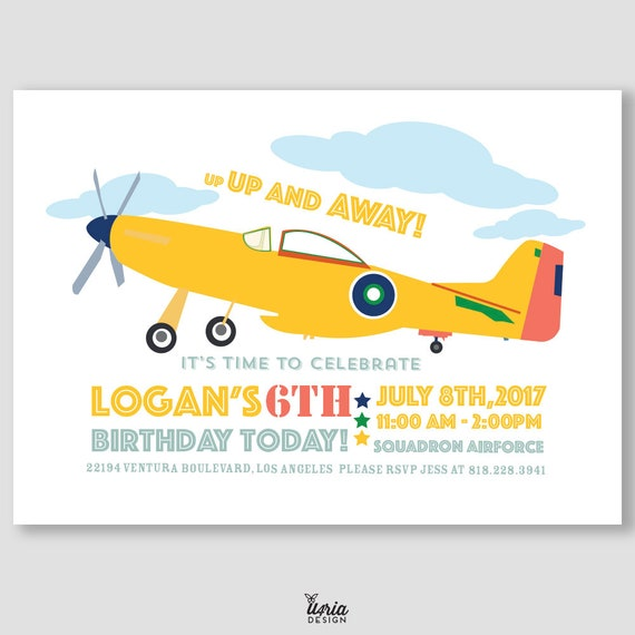 Vintage Airplane Birthday Invitation Kids Aviator