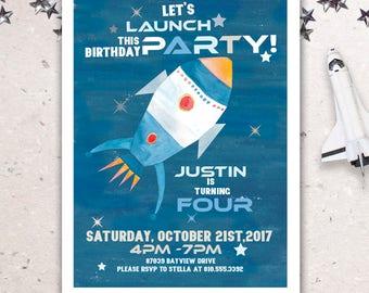 Watercolor Rocket ship Birthday Invitation.  RocketShip Invite. Out of space Invite. Blast Off Invite. Rockets & Astronaut Party Invite.