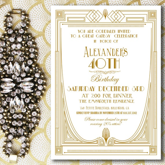 great gatsby themed invitation great gatsby invitation gold etsy