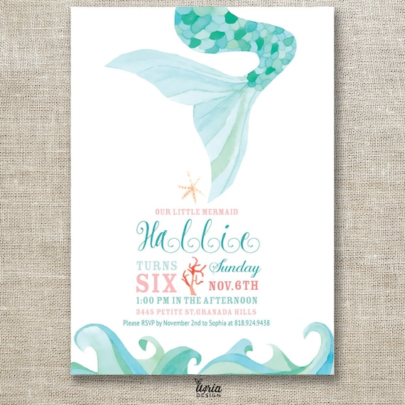 Watercolor Little Mermaid Birthday Invitation Themed