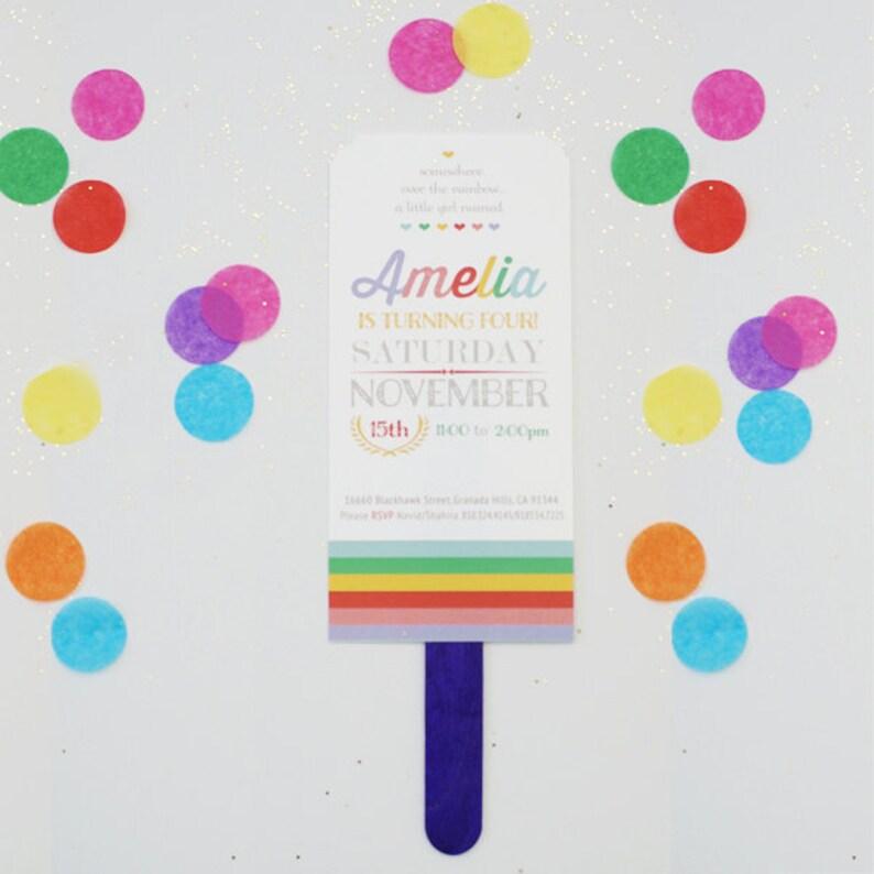 Custom Rainbow Themed Birthday Invitation Kids Party