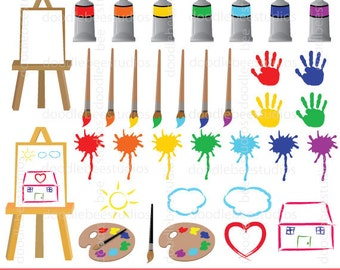 Painting Clipart Paint Art And Craft Splatter Paintbrush Kids Doodles Clip