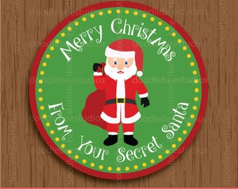 Secret Santa Christmas Label, Printable Christmas Labels, Santa Labels, Santa Claus Labels, Santa Claus Tags, Santa Claus Printables
