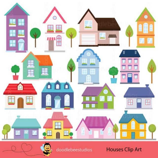 houses clipart houses clip art buildings clipart cottage etsy rh etsy com houses clipart black and white houses clip art free