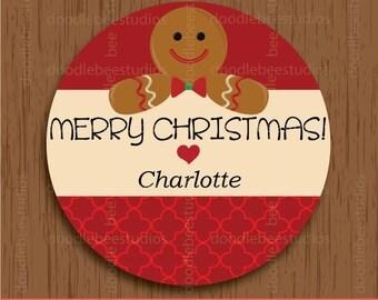 Gingerbread Man Labels, Printable Christmas Labels, Gingerbread Man Tags, Gingerbread Christmas Labels, Printable Gingerbread Labels