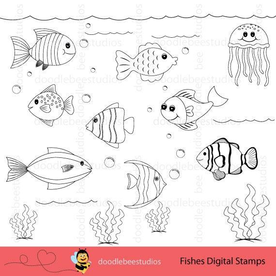 Sellos digitales Clipart de peces Clipart de peces peces | Etsy