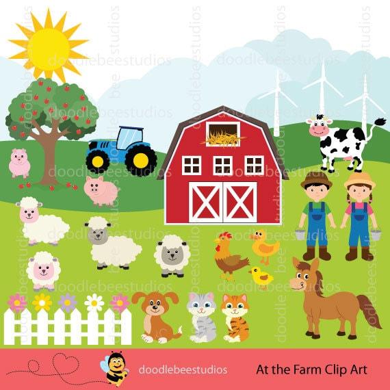 Bauernhof Tiere Clipart Bauernhof Clip Art Set Tiere Etsy