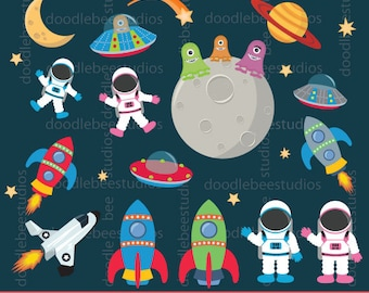 Outer Space Clipart, Outer Space Digital Download, Astronauts Clipart, Spaceships Clip Art, Rockets Clipart, Outer Space Clip Art Set