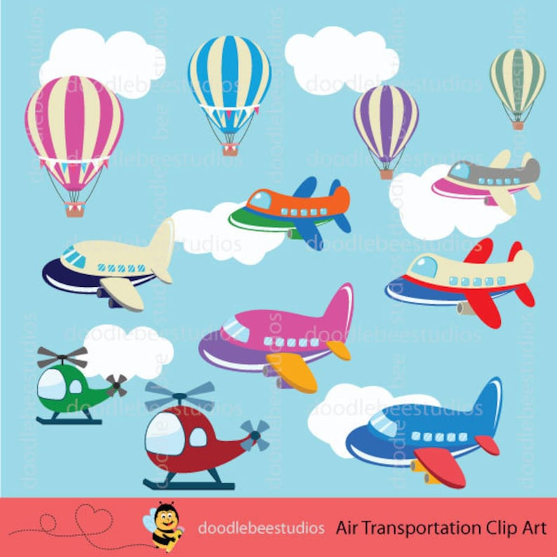 Air Transportation Clipart, Air Planes Clip Art, Air Vehicles Clipart,  Vehicles Clip Art, Airplanes Clipart, Hot Air Balloons,Helicopters