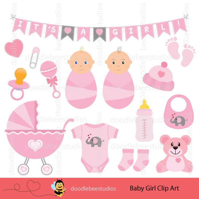 0931eade8884 Baby Girl Clip Art Set Baby Things Clip Art Baby Girl
