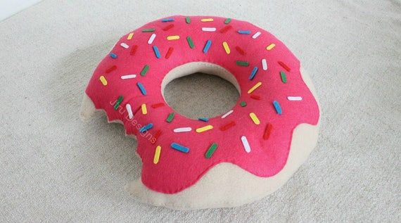 Schattig roze donut kussen hand genaaid fleece vilt schattig etsy