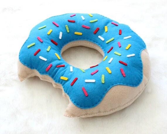 Schattige blauwe donut kussen hand genaaid fleece vilt etsy