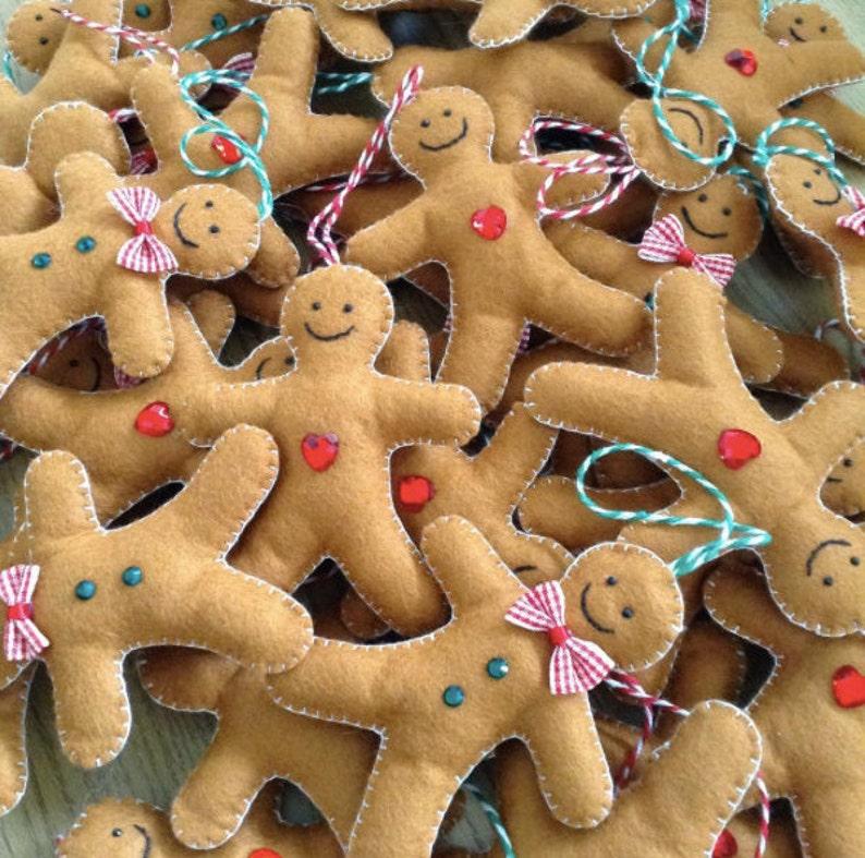 Gingerbread Man Christmas Tree Decoration Christmas Felt image 1