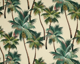 Fabric Palm Trees Tropical One metre of Kailua 100% Cotton Upholstery Weight - Palm Trees On Natural Background