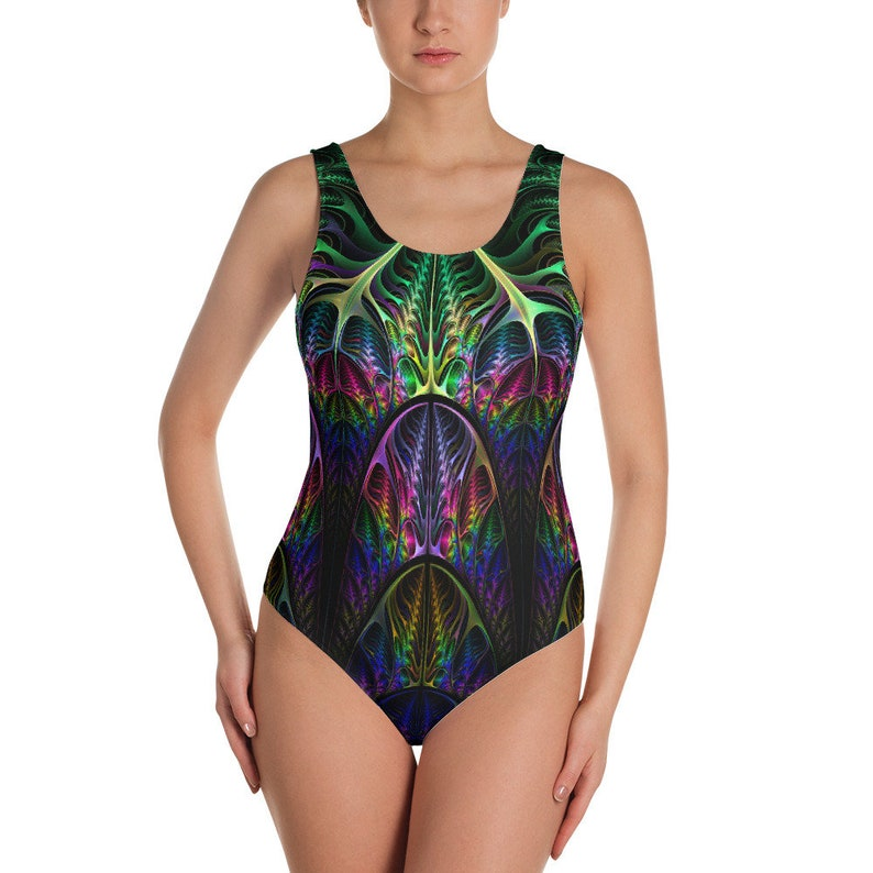 529d3dd85e849 Psychedelic One Piece Swimsuit Rave outfit Trippy Swimsuit   Etsy