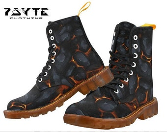 Hot coal Festival boots, Burning man boots, Dr Marten style boots, Combat boots, Ladies and Mens Festival shoes and boots, 8 eye boots,
