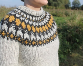 Knit sweater made of pure, Icelandic wool, in stock in a size small. Any other sizes MADE TO ORDER.