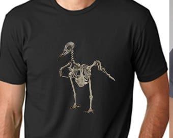 Skeleton raven men shirt - skeleton shirt, metal shirt, art shirt, unique shirt, bird shirt, raven shirt