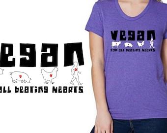 Vegan Beating Heart Shirt - Vegan Clothing - American Apparel Tri Blend